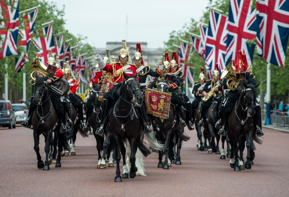 The Household Cavalry Band going down the Mall