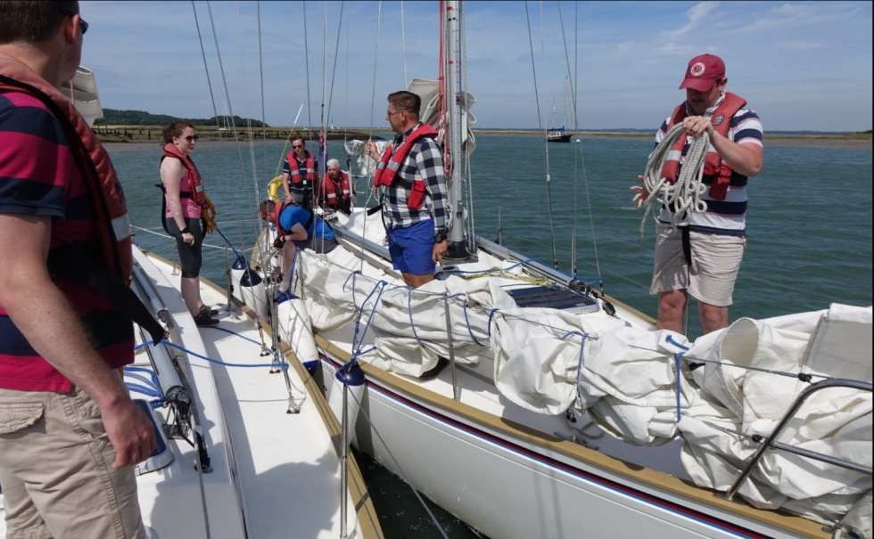 Welsh Guards Band sailing in the Solent